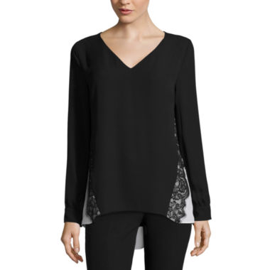jcpenney.com | Worthington® Long-Sleeve Lace-Trim Blouse
