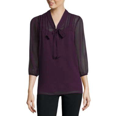jcpenney.com | Alyx® 3/4-Sleeve Low Bow Pintuck Top