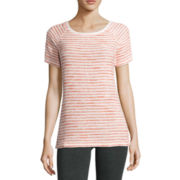 Liz Claiborne® Short-Sleeve Stripe Boucle Raglan Top