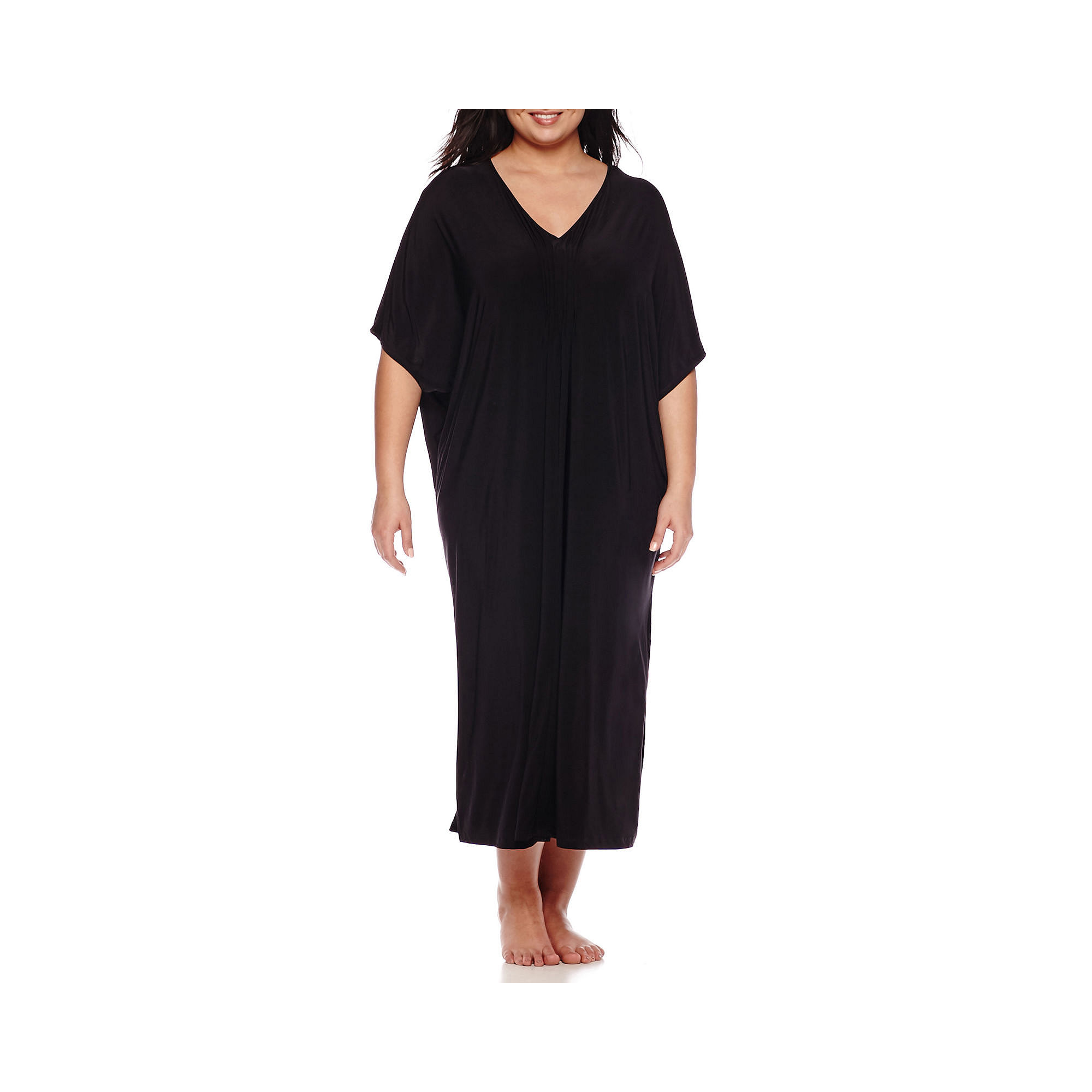 Ambrielle Pleated Caftan - Plus plus size,  plus size fashion plus size appare