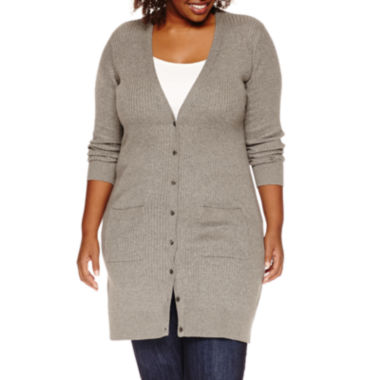 jcpenney.com | Stylus™ Long-Sleeve Ribbed Button-Front Cardigan - Plus