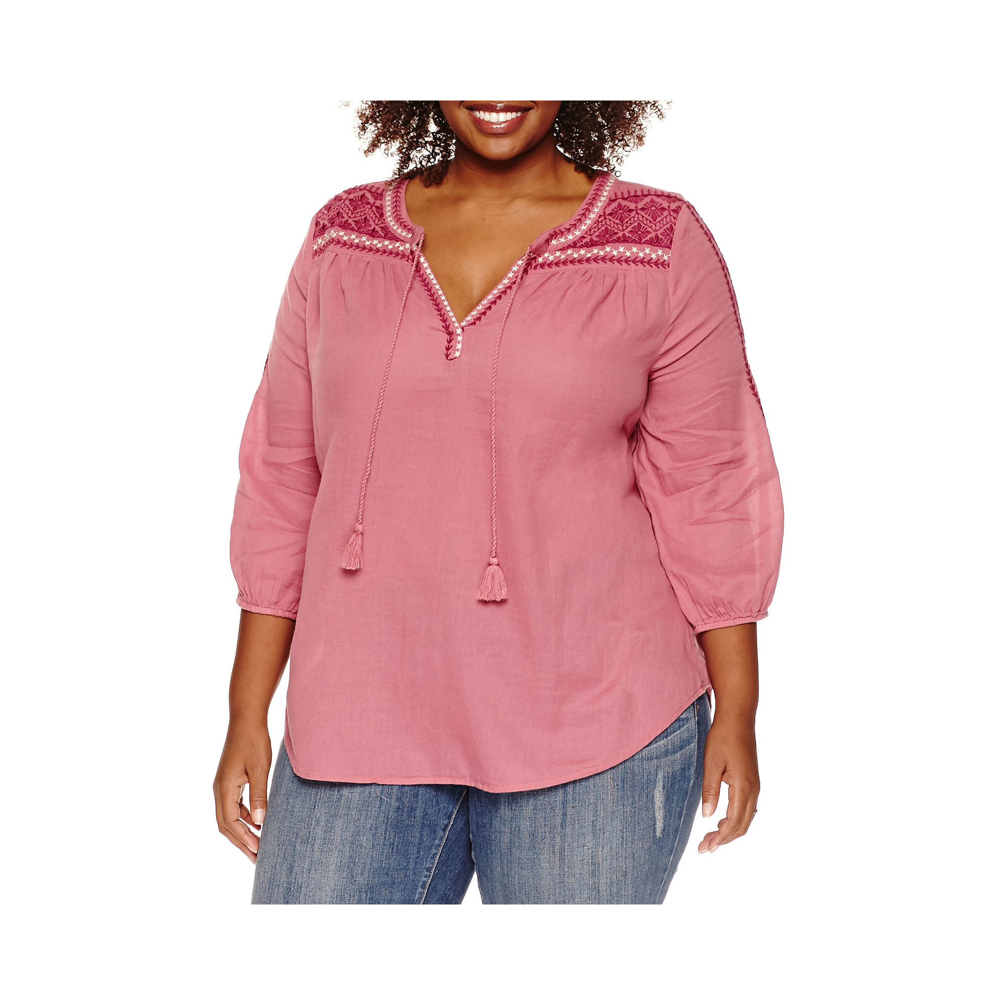 St. John's Bay Embroidered Tie-Front Cotton Blouse - Plus plus size,  plus size fashion plus size appare