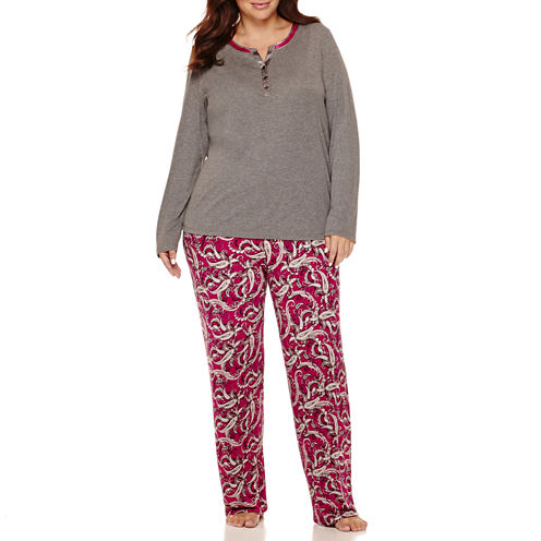 Liz Claiborne® Long-Sleeve Henley and Pants Pajama Set - Plus