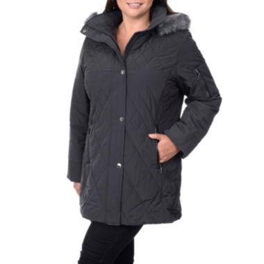 jcpenney.com | Fleet Street Faux-Silk Stadium Parka with Faux-Fur Trim Hood - Plus