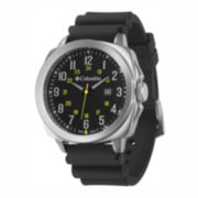Columbia Sportswear Co.® Cornerstone Mens Black Silicone Strap Watch