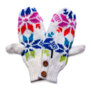 MUK-LUKS® Colorful Snowflake Button Mittens