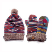 MUK-LUKS® Striped Fair Isle Beanie and Mittens Set