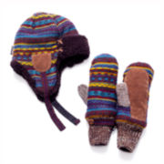 MUK-LUKS® Vintage Sweater Trapper Hat and Mittens Set
