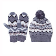 MUK-LUKS® Geotribal Slouch Beanie and Mittens Set