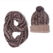MUK-LUKS® Knit Cuffed Hat and Eternity Scarf Set