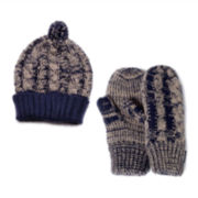 MUK-LUKS® Knit Cuffed Hat and Mittens Set