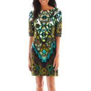 Studio 1® Elbow-Sleeve Print Dress