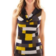 Black Label by Evan-Picone Sleeveless Cowlneck Print Top
