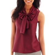 Black Label by Evan-Picone Sleeveless Bow-Neck Blouse