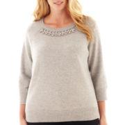 jcp™ 3/4-Sleeve Embellished Sweater - Plus