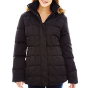 a.n.a® Faux-Silk Hooded Down Puffer Jacket