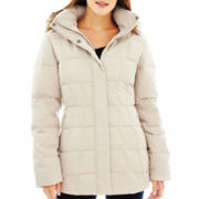 a.n.a® Faux-Silk Hooded Down Puffer Jacket - Plus