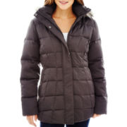 a.n.a® Faux-Silk Hooded Down Puffer Jacket