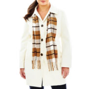 St. John's Bay® Wool-Blend Scarf Coat - Plus