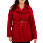 a.n.a® Asymmetrical Belted Wool-Blend Short Coat - Plus