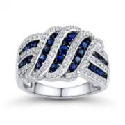 Lab-Created Blue & White Sapphire Crossover Ring