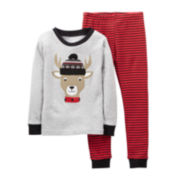 Carter's® 2-pc. Long-Sleeve Christmas Reindeer Pajama Set – Boys 12m-24m