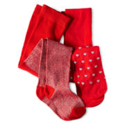 Okie Dokie® 2-pk. Red & Opaque Tights - Girls 12m-6y