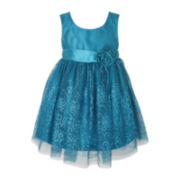 Pinky Taffeta Mesh Dress - Girls 2t-6
