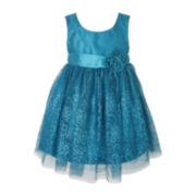 Pinky Taffeta Mesh Dress - Girls 2t-6