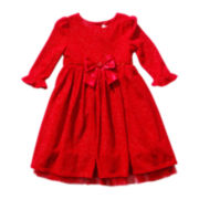 Youngland® Long-Sleeve Bow Dress - Girls 2t-6