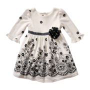 Youngland® 3/4-Sleeve Knit Dress - Girls 2t-6