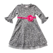 Youngland® 3/4-Bell Sleeve Dress - Girls 2t-6