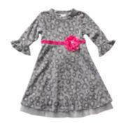 Youngland® 3/4-Bell Sleeve Dress - Girls 2t-6