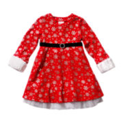 Youngland® Long-Sleeve Snowflake Dress - Girls 2t-6