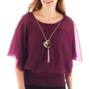 by&by Short-Sleeve Banded Chiffon Necklace Top