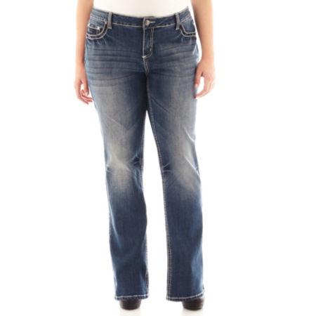 Soundgirl Sequin-Pocket Bootcut Jeans - Plus