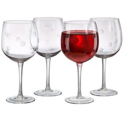 Polka Dot Set of 4 Wine Glasses