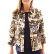 Alfred Dunner® Amsterdam Avenue Geo-Floral Patch Print Jacket