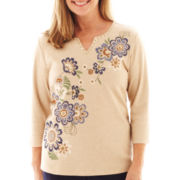 Alfred Dunner® Amsterdam Avenue 3/4-Sleeve Embroidered Knit Top