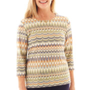 Alfred Dunner® Amsterdam Avenue 3/4-Sleeve Glitter Biadere Knit Top