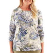 Alfred Dunner® Amsterdam Avenue 3/4-Sleeve Paisley Textured Knit Top
