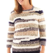Alfred Dunner® Amsterdam Avenue 3/4-Sleeve Striped Slub Sweater
