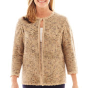 Alfred Dunner® Amsterdam Avenue 3/4-Sleeve Textured Cardigan Sweater