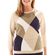Alfred Dunner® Amsterdam Avenue 3/4-Sleeve Abstract Colorblock Sweater