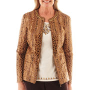 Alfred Dunner® Social Circle Animal Print Textured Jacket
