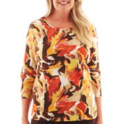 Alfred Dunner® Social Circle 3/4-Sleeve Abstract Floral Knit Top
