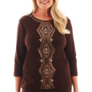 Alfred Dunner® Social Circle 3/4-Sleeve Beaded Medallion Knit Top