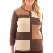 Alfred Dunner® Social Circle 3/4-Sleeve Colorblock Sweater