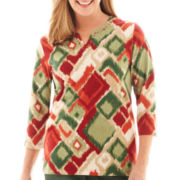 Alfred Dunner® Avondale Road 3/4-Sleeve Ikat Diamond Print Knit Top