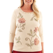 Alfred Dunner® Avondale Road 3/4-Sleeve Embroidered Floral Knit Top
